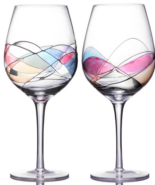 Unique Wine Glasses Set Of 2 Handmade And Beautifully Packaged Contempora