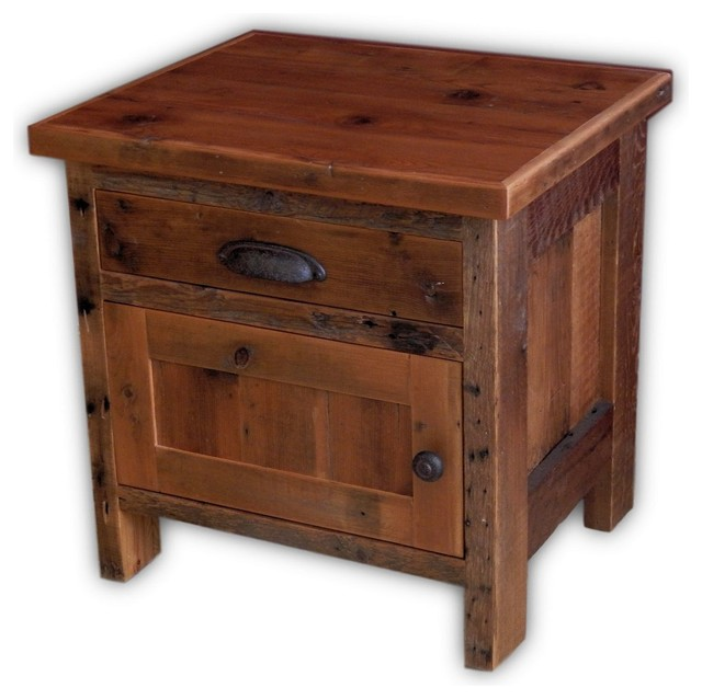 Barnwood End Table With Drawer And Cabinet 22 X20 X27 Rustic Side Tables By Vienna Woodworks