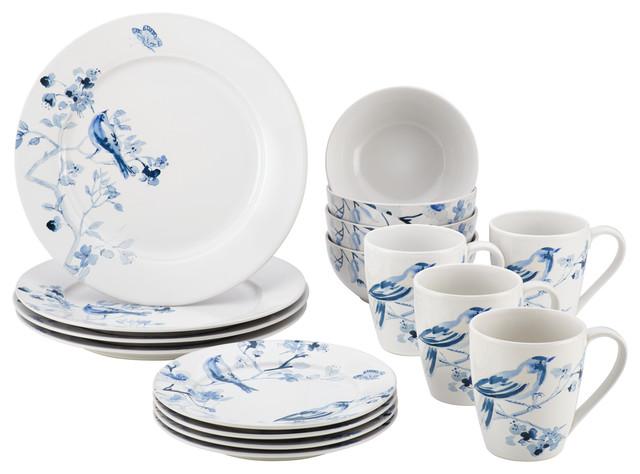 Paula Deen Dinnerware Indigo Blossom 16-Piece Stoneware Dinnerware Set  sc 1 st  Houzz & Paula Deen Dinnerware Indigo Blossom 16-Piece Stoneware Dinnerware ...