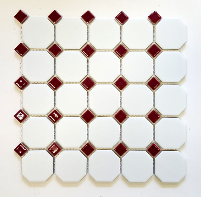 Matte White Octagon with Shiny Burgundy Dot Porcelain Mosaic Tile,Lot of 10