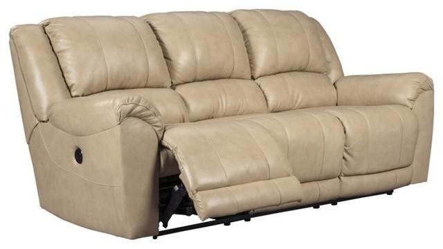 Ashley Yancy Power Reclining Leather Sofa, Galaxy Transitional Sofas