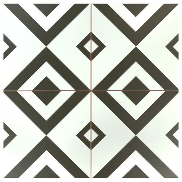 "17.63""x17.63"" Lambeth Ceramic Floor And Wall Tile, Set Of 5."