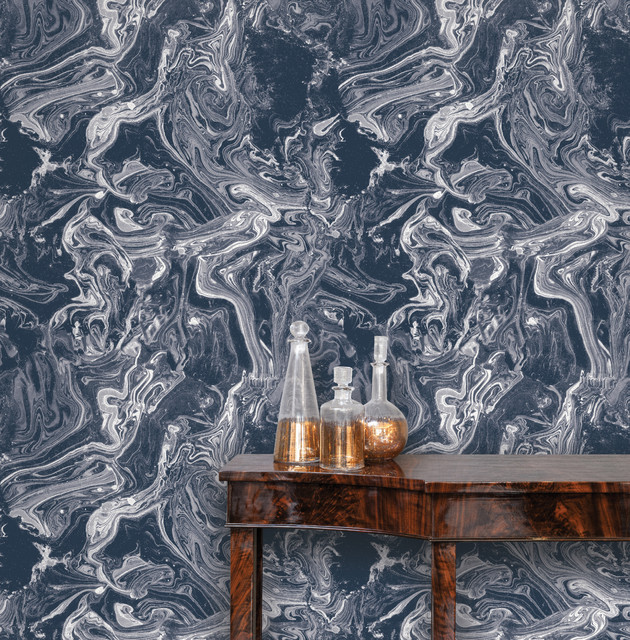 Tokyo, Self-Adhesive Removable Wallpaper, Celestial Blue, 56.37 Sq. Ft.. -1
