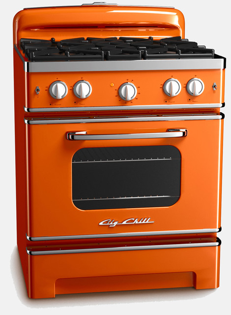 Vintage Inspired Retro Stove Orange Contemporary