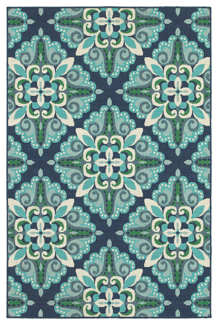 Madelina Medallion Blue and Green Indoor or Outdoor Area Rug ...