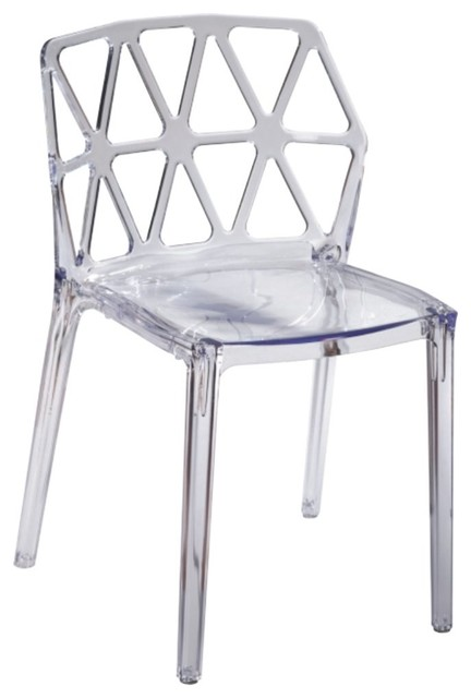 Modern Classics Zig Zag Dining Chair, Clear.