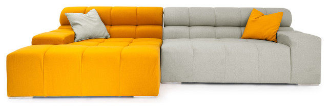 Cubix Modular Cashmere Sofa Sectional, Sunrise/Heather White, Left Facing