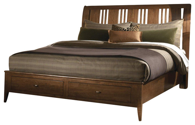 Kincaid Cherry Park Solid Wood Queen Sleigh Storage Bed
