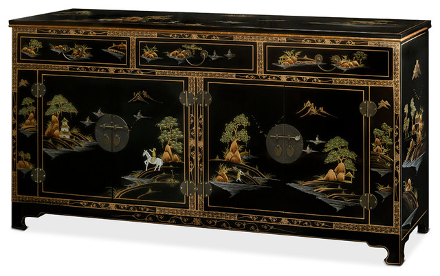 Chinoiserie Scenery Black Lacquer Sideboard - Asian ...