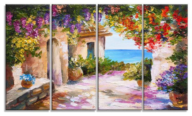 Summer Seascape Landscape Canvas Art Print, 48x28.