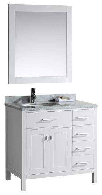 London 36 single sink vanity set drawers on the right contemporary bathroom vanities and for Single sink consoles bathroom