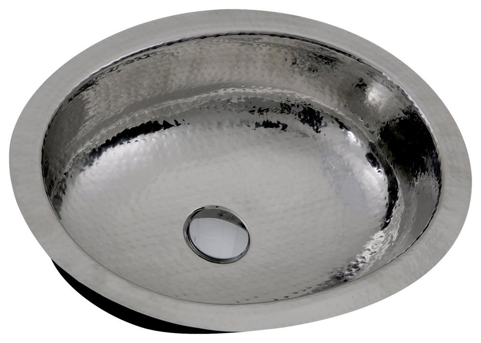 Nantucket Sinks Hand Hammered Oval Undermount Bathroom Sink With Overflow Contemporary Bathroom Sinks By Directsinks
