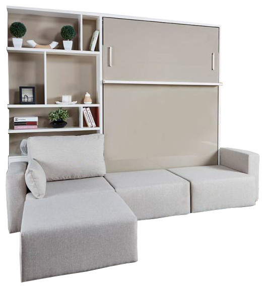 Royal Queen Wall Bed With Sectional Sofa & Bookcase, Semi-Gloss White & Beige.