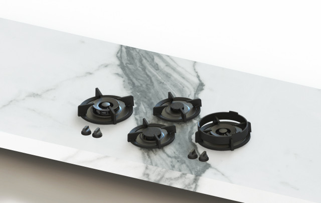"""Dempo 36"""" Gas Cooktop with 4 Brass Burners"""