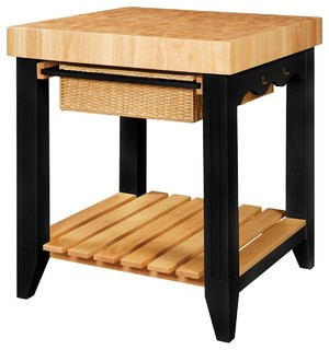 Powell Color Story Black Butcher Block Kitchen Island X-614-205