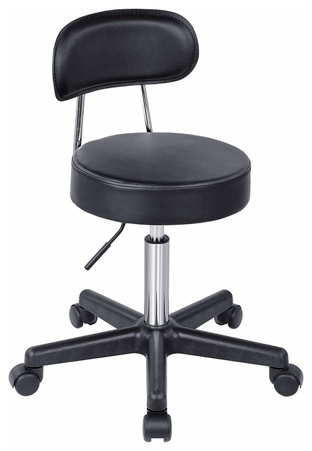 Vintage Industrial Style Salon Stool Adjustable Height Rolling Swivel Office Chair Massage Spa Stool Chair with Backrest,Black,A