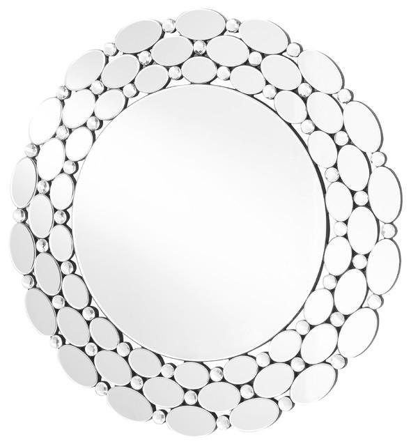 "Sparkle 35"" Contemporary Round Mirror, Clear."