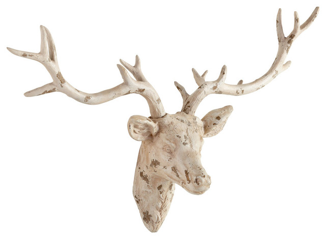 Cyan Design 06173 Antique French White Open Antler Wall Decor Contemporary  Wall Sculptures