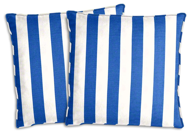 Royal Blue And White Striped Outdoor Pillow Set Traditional Outdoor Cushions  And