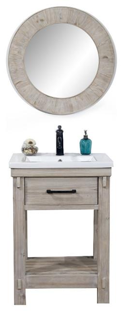 Rustic Solid Fir Single Sink Bathroom Vanity With Ceramic Top