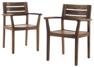 Stanyan Outdoor Acacia Wood Dining Chairs, Set Of 2, Teak   Craftsman    Outdoor Dining Chairs   By GDFStudio