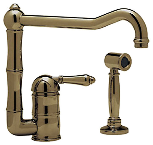 Rohl A3608/11LMWSTCB 2 Tuscan Brass Country Kitchen Faucet, Side Spray And  Spout
