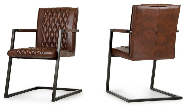 Exceptional Modrest Lipan Modern Cognac Dining Arm Chair, Set Of 2 Modern Dining Chairs