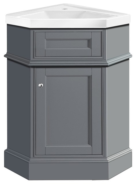 Monty Corner Bathroom Vanity  Gray 27 transitional bathroom vanities and Transitional