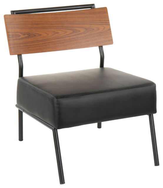 Lumisource Fiji Accent Chair, Black PU Leather With Walnut Wood Accent