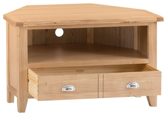 Canterbury Light Oak Corner Tv Unit Traditional Tv Stands