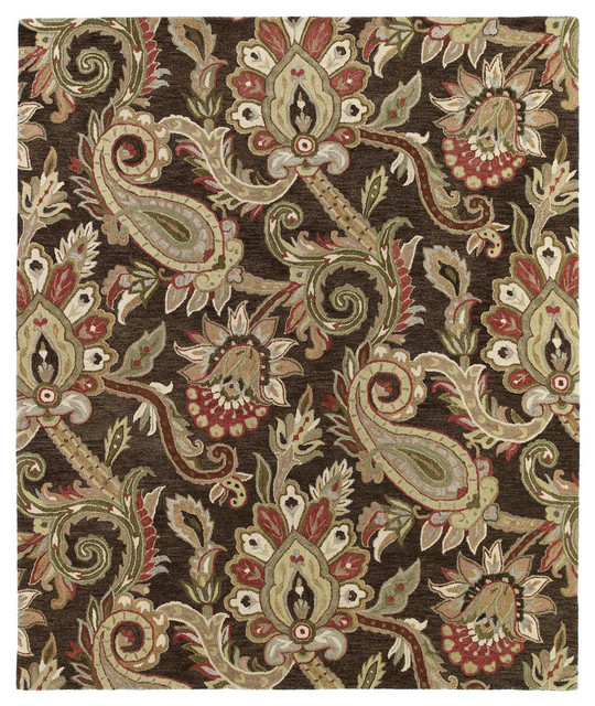 Kaleen Helena 3204-40 Chocolate Hand-Tufted Rug, 4'x6' by Kaleen Rugs