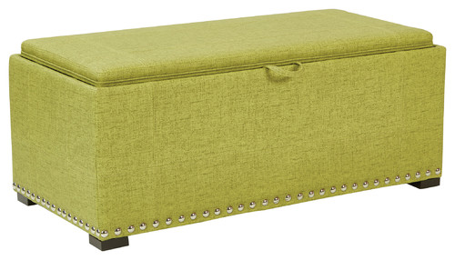Florence Storage Bench With Removable Ottoman Cubes, Basil
