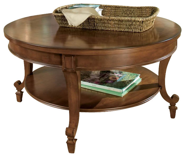 magnussen aidan round wood cocktail / coffee table in cinnamon