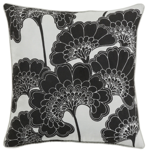 Surya Japanese Floral 20   x 20   Pillow With Down Insert JA002-2020D
