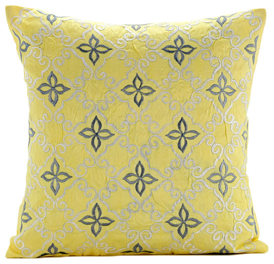 Yellow Silk Decorative Pillows : Little Memories, Yellow Silk Decorative Pillowcase - Transitional - Decorative Pillows - by The ...