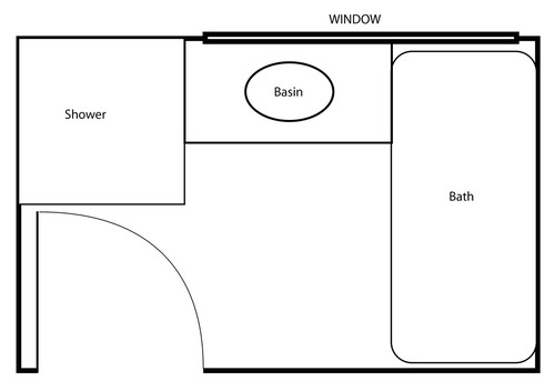 Layout for small bathroom for Kitchen design 5m x 6m