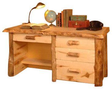 Silver Creek Aspen Log Desk Pencil Drawer And Drawers On Right Clear Gnarly