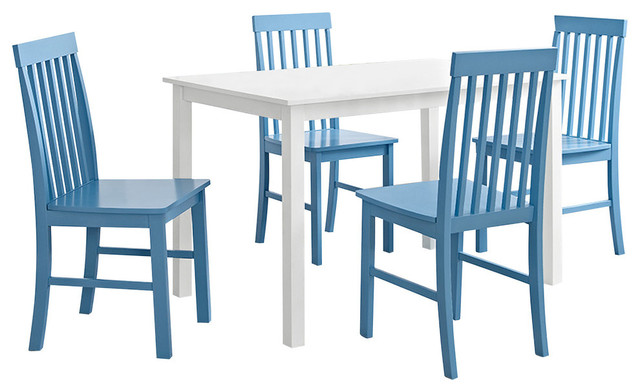 Greyson 5 Piece Dining Set, White And Powder Blue Contemporary Dining Sets