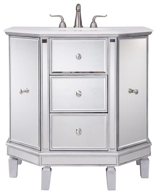 "Elegant Decor Nouveau 35"" Single Bathroom Vanity, Clear Mirror."