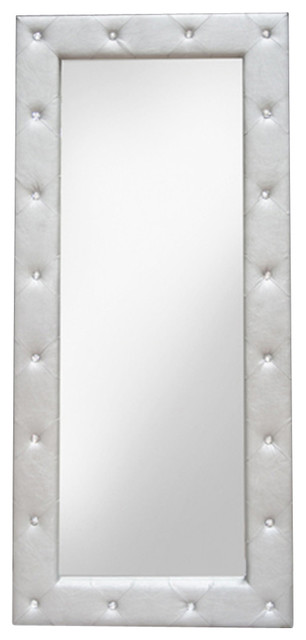 Exclusive Silver Full Length Synthetic Mirror With Tufted Look Contemporary  Floor Mirrors