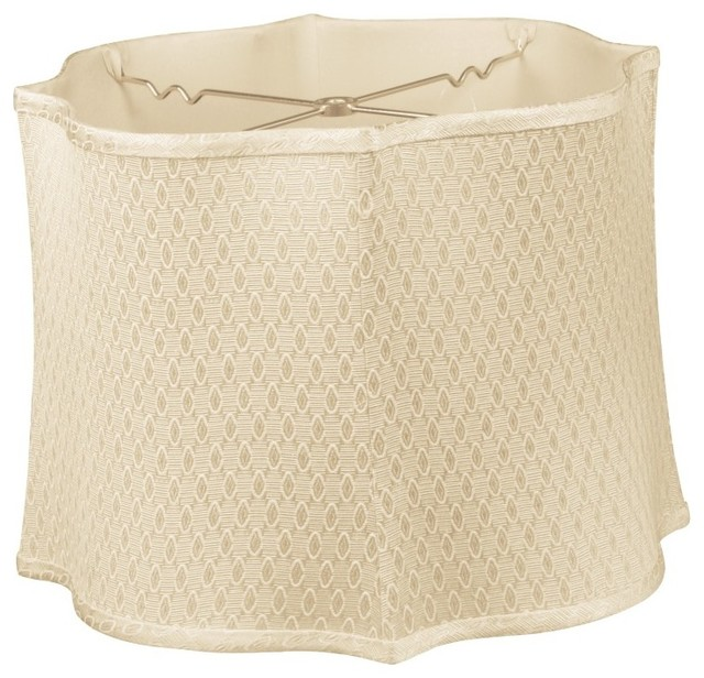 Square Lamp Shade: Fancy Scalloped Square Designer Lampshade, Beige traditional-lamp-shades,Lighting