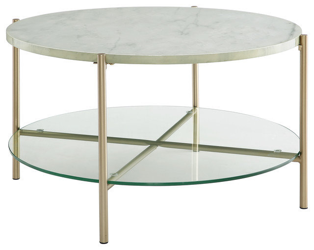 32 Modern Round Coffee Table With Gl Shelf Top White Marble Legs Gold