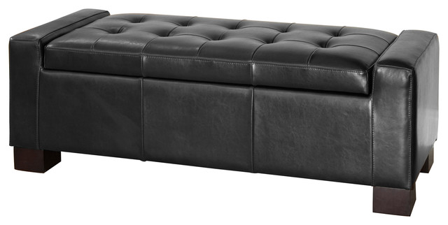 Rothwell Leather Storage Ottoman Bench Contemporary Footstools Ottomans By Gdfstudio