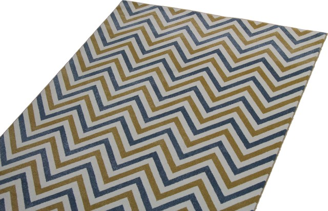 Blue And Yellow Chevron Rug
