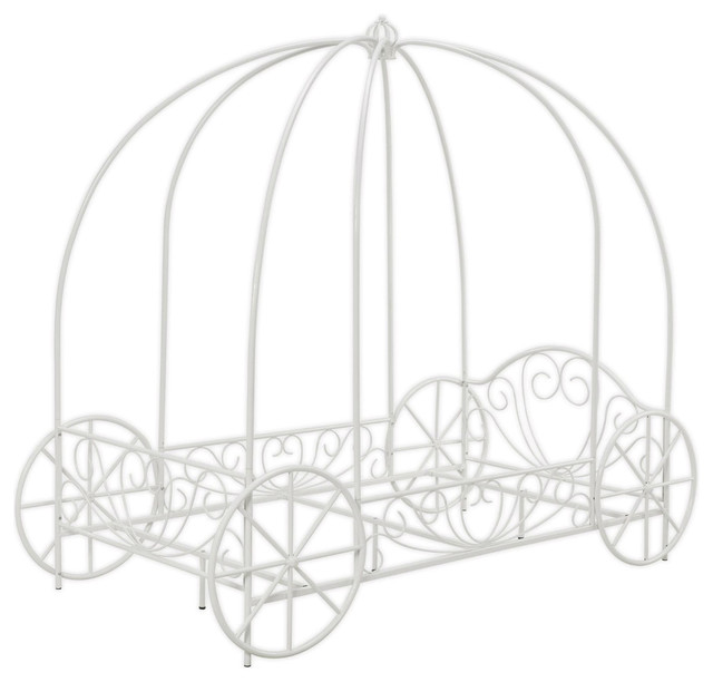 Princess Canopy Bed With Decorative Wheels, White Metal Finish.