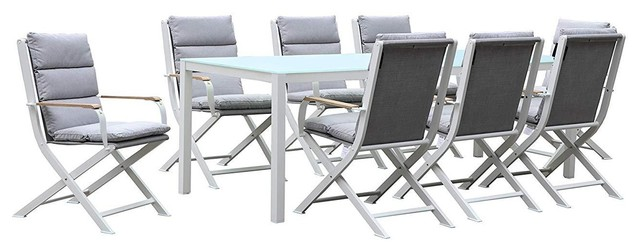 Amber 8-Person Outdoor Dining Set, White