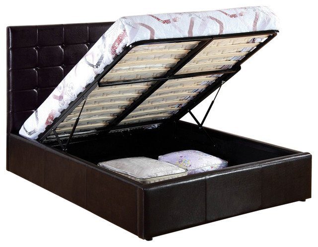 Uptown Brown Upholstered Storage Lift Bed, Full.