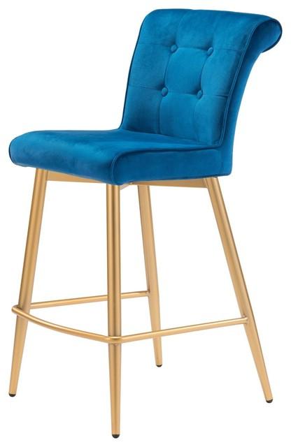 Outstanding Modern Contemporary Counter Chair Stool Blue Velvet Metal Machost Co Dining Chair Design Ideas Machostcouk