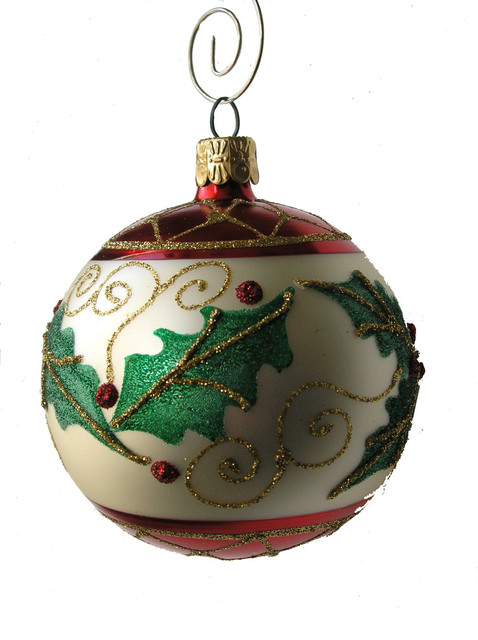 Holly Leaf Ball Oranament - Traditional - Christmas Ornaments - by ...