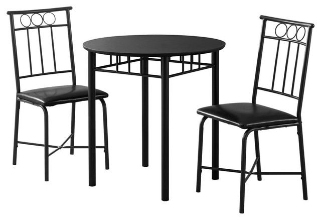Monarch 3 Piece Round Dining Set Black Dining Sets By
